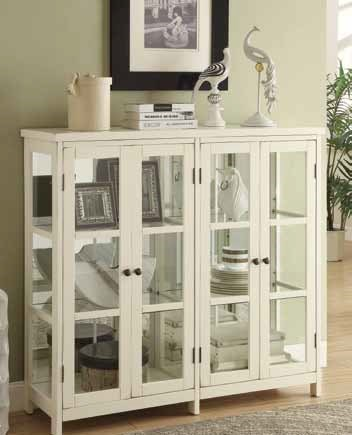 Transitional White Wood Glass Accent Cabinet CST-950306
