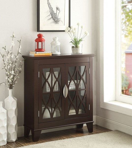 Transitional Brown Red Wood Glass Accent Cabinets CST-950311-VAR