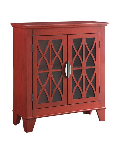 Transitional Red Wood Glass Accent Cabinet CST-950312