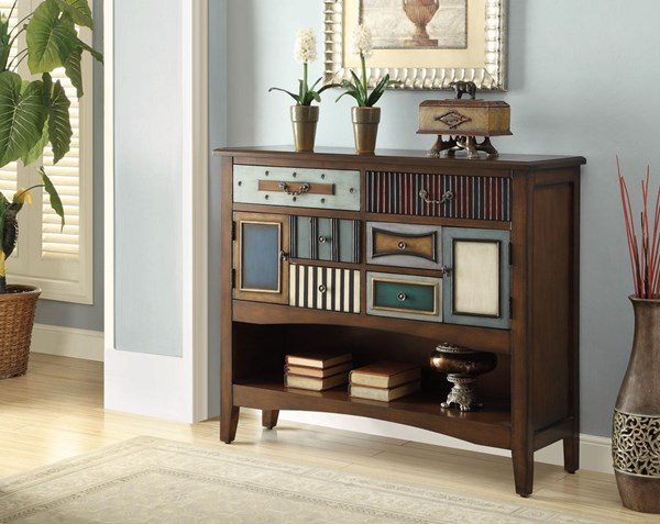Brown Wood 6 Drawers & 1 Shelf Accent Cabinet CST-950329