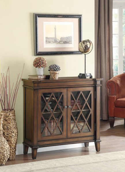 Country Brown Wood Glass Rectangle Accent Cabinet CST-950348