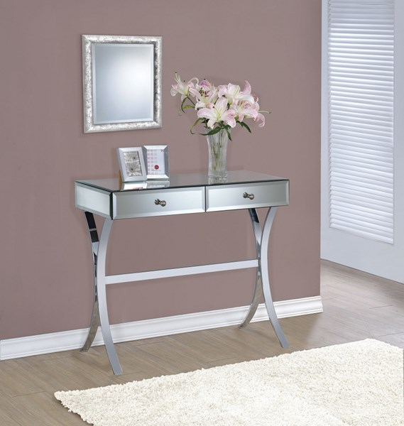 Chrome Mirror Console Table w/Two Drawers CST-950355