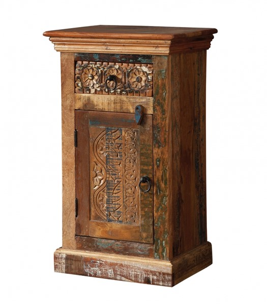 Wood Accent Cabinet w/Stamp Imprint On Door & Drawer Front CST-950371