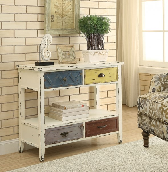 White Wood Storage Rectangle Console Table CST-950545