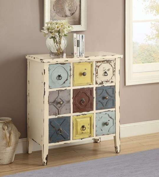 White Wood Multiple Drawers Accent Cabinet CST-950546