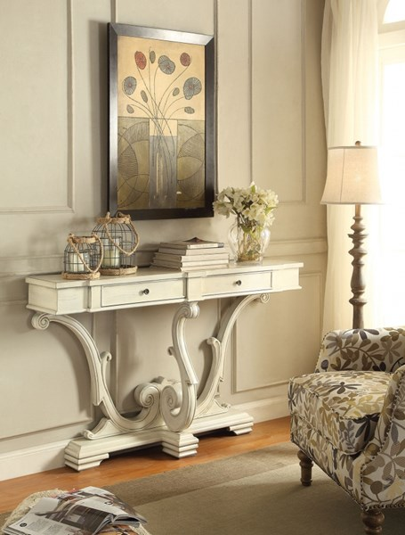 White Wood Console Table w/Full Extension Drawer Glide CST-950586