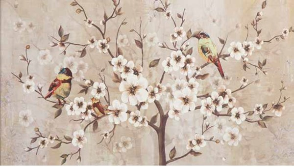 White Elegant Plums Floral Rectangle Wall Art CST-960749