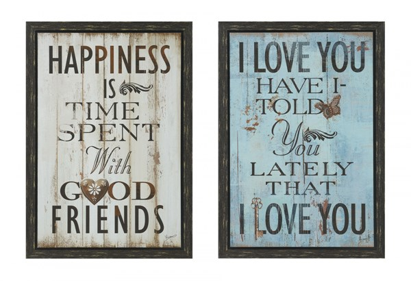 2 Happiness Alphabet Rectangle Wall Arts W/Frame CST-960990