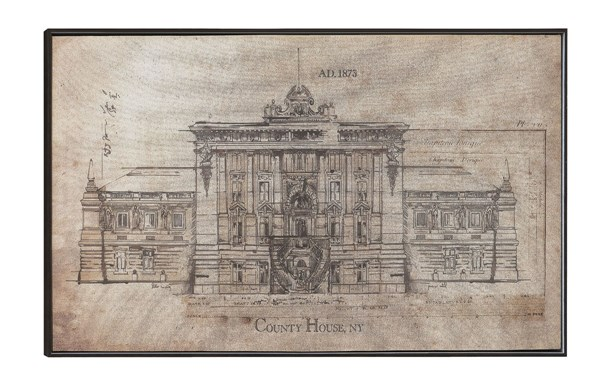 Architecture Sketch Rectangle Wall Art w/Frame CST-961017