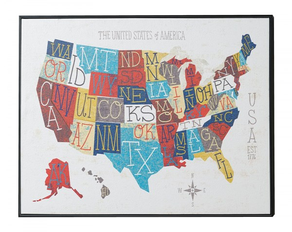 50 States Rectangle Wall Art w/Frame CST-961026