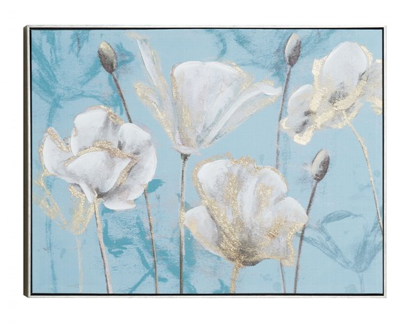 Silvery Blossom Rectangle Wall Art w/Frame CST-961033
