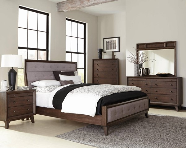 Bingham Modern Brown Oak Asian Hardwood Master Bedroom Set CST-B259-BR