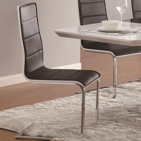 4 Broderick Contemporary Black Chrome Side Chairs CST-120948