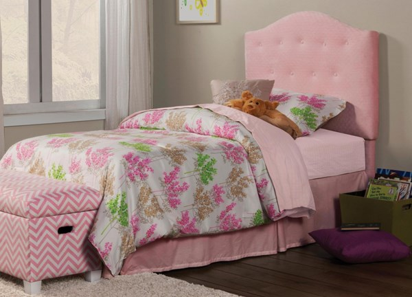 Charlotte Traditional Pink Wood Fabric Twin Headboard w/Frame CST-405020T-FRAME