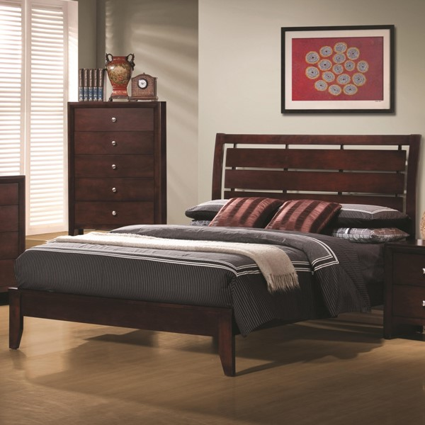 Serenity Transitional Merlot Wood Queen Sleigh Bed CST-201971Q