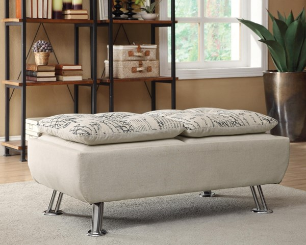 Kay Transitional Oatmeal Fabric Cocktail Ottoman CST-300423