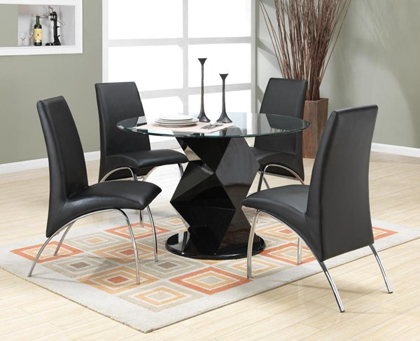 Ophelia Contemporary Black Glass Metal 5pc Dining Room Set CST-120821-S3
