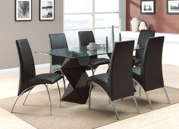 Ophelia Black Glass Solid Back Dining Room Set CST-120821-DR