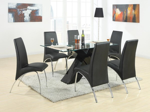 Ophelia Black Glass Metal 7pc Dining Room Set CST-120821-S1