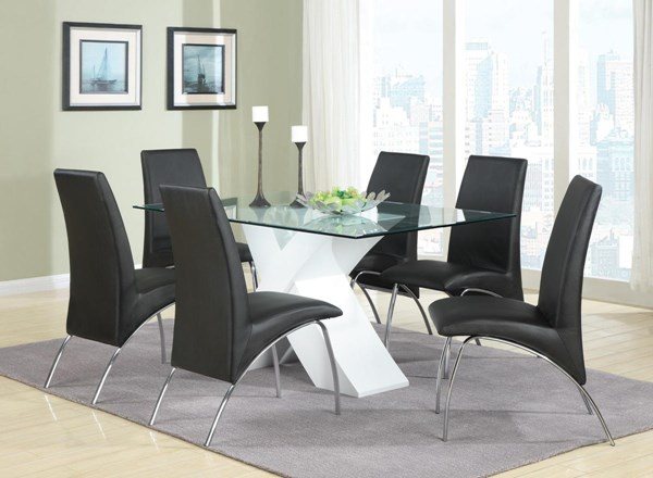 Ophelia White Glass Metal 7pc Dining Room Set CST-120821-S