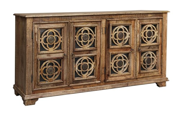 Coast to Coast Brown Mango Wood Glass Four Door Media Credenza CTC-37133