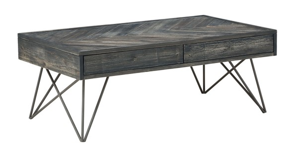 Coast To Coast Aspen Court Charcoal Grey Brown Two Drawers Cocktail Table CTC-40279