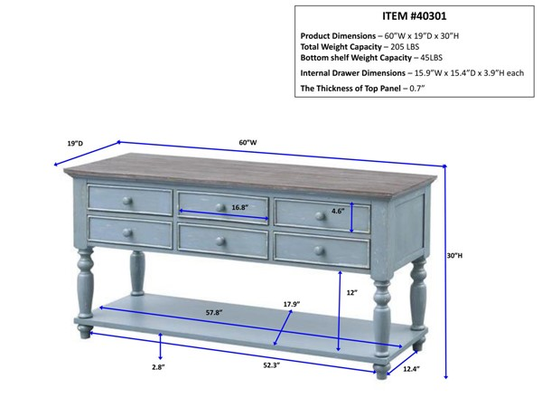 Coast to Coast Bar Harbor Blue Console Table CTC-40301