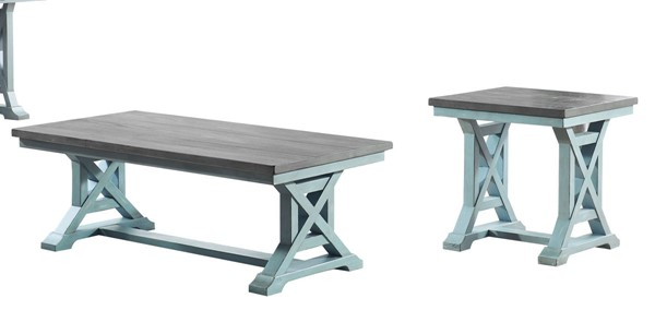 Coast to Coast Bar Harbor Blue 3pc Coffe Table Set CTC-40302-OCT-S1