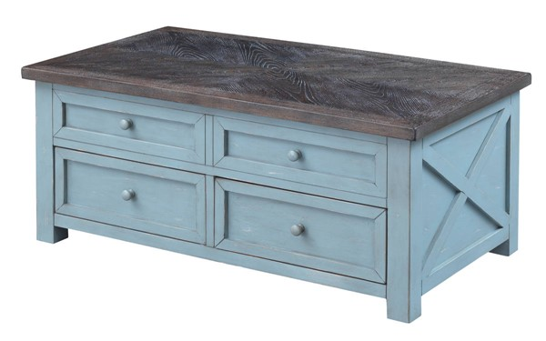 Coast to Coast Bar Harbor Blue Two Drawer Lift Top Cocktail Table CTC-40306
