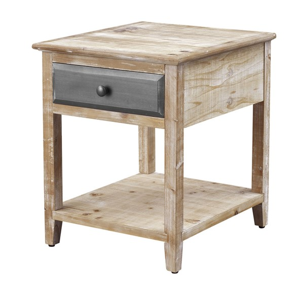 Coast to Coast Bali Natural White Washed End Table CTC-55612