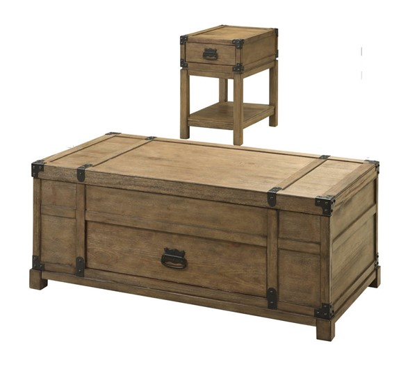 Coast To Coast Carmel Natural 3pc Coffee Table Set With Chairside Table CTC-6745-OCT-S2