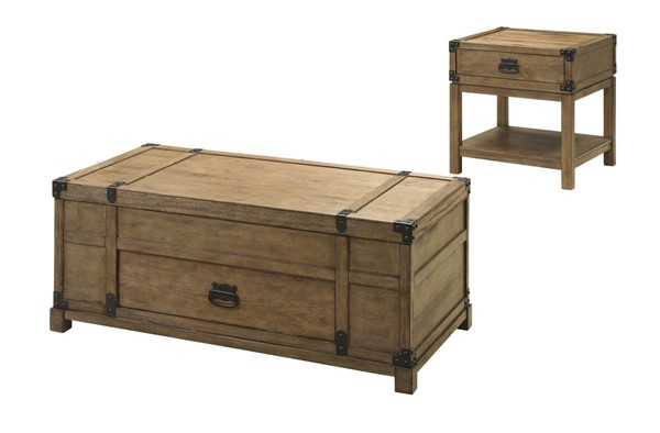 Coast To Coast Carmel Natural 3pc Coffee Table Set With End Table CTC-6745-OCT-S1