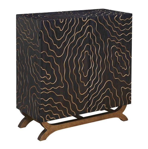 Coast to Coast Crossroads Black Brown Gold Two Doors Cabinet CTC-96547