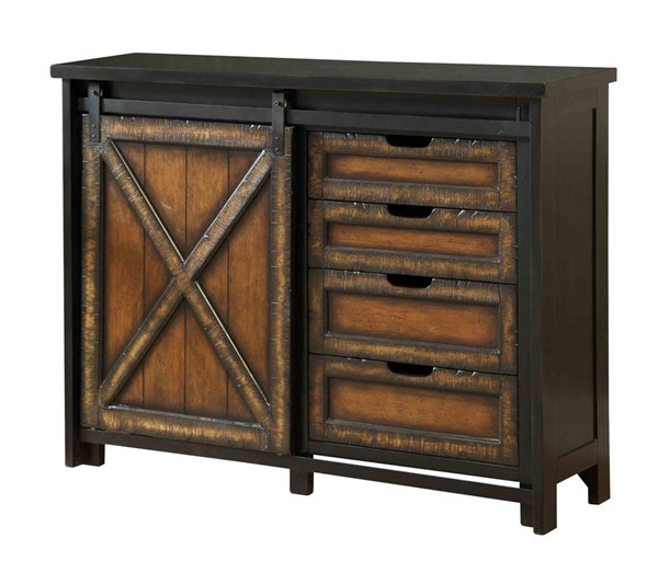 Coast to Coast Barnhill Black Brown Four Drawers One Sliding Door Media Cabinet CTC-96567