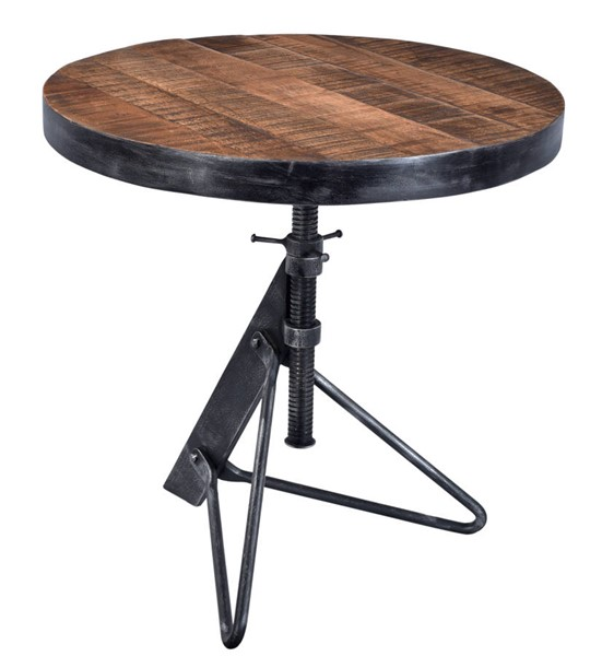 Coast to Coast Braden Natural Restoration Black Adjustable Round Accent Table CTC-98200