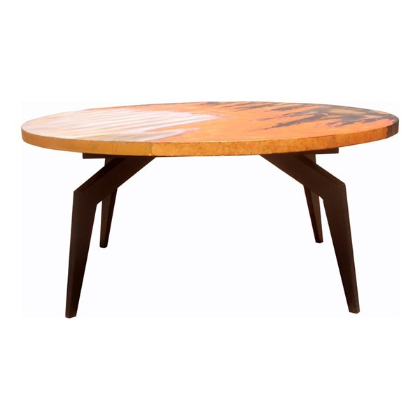 Moes Home Knox Cappuccino Wood Round Coffee Table MOE-AX-1019-14
