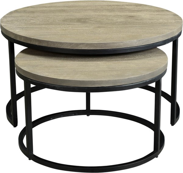 Moes Home Drey Grey Round 2pc Nesting Coffee Table MOE-BV-1011-15