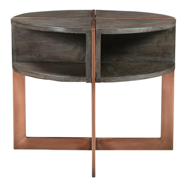 Moes Home Bancroft Grey Wood Round Side Table MOE-DR-1314-15