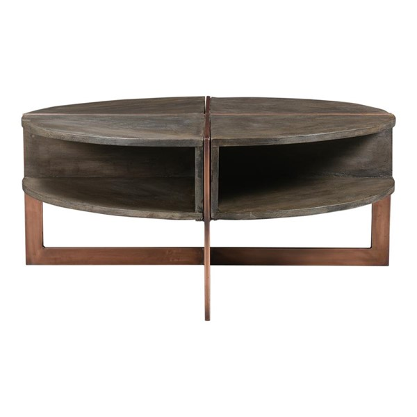 Moes Home Bancroft Grey Wood Round Coffee Table MOE-DR-1315-15