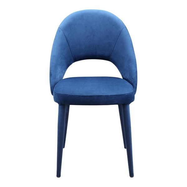 2 Moes Home Harding Dark Blue Fabric Armless Dining Chairs MOE-EH-1105-19