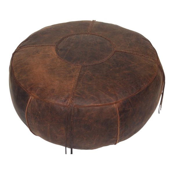 Moes Home Laredo Brown Leather Round Ottoman MOE-GR-1027-03