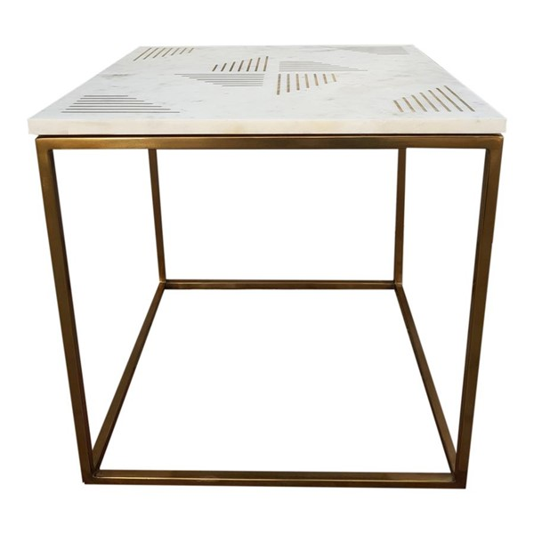 Moes Home Quarry White Marble Side Table MOE-GZ-1002-18