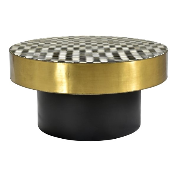 Moes Home Optic Black Gold Round 3pc Coffee Table Set MOE-GZ-1010-OCT-S1