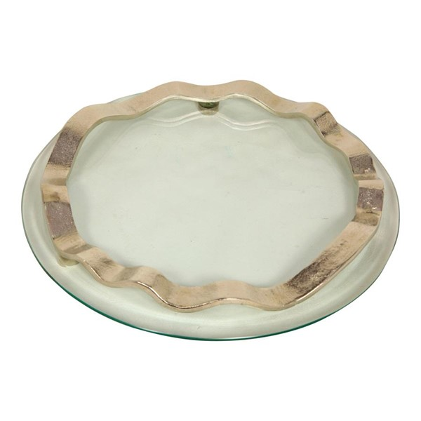 Moes Home Nickel Banded Glass Tray MOE-IX-1072-44