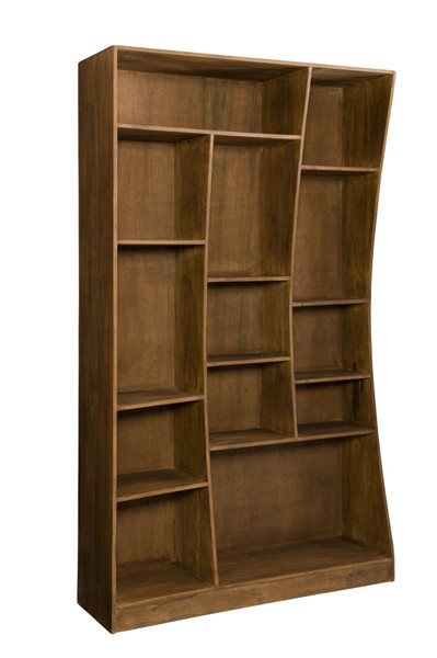Moes Home Niagara Light Brown Left Cube Bookcase MOE-LX-1032-03-L