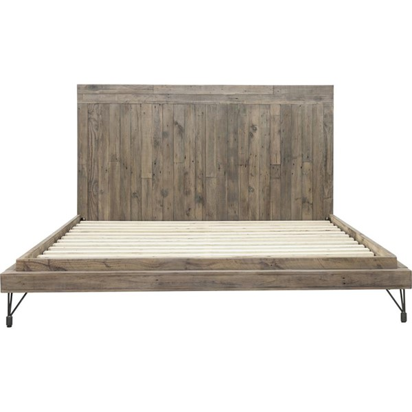 Moes Home Boneta Brown Solid Pine Wood Queen Bed MOE-QA-1008-03