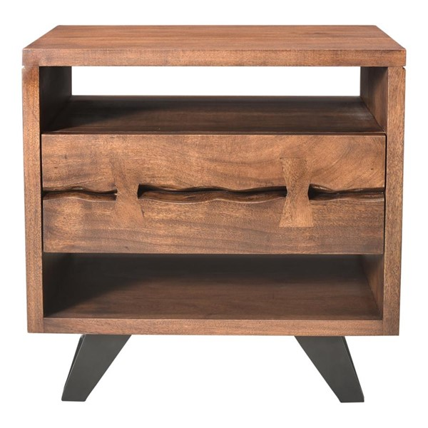 Moes Home Madagascar Brown 2 Shelves Night Stand MOE-UH-1008-03
