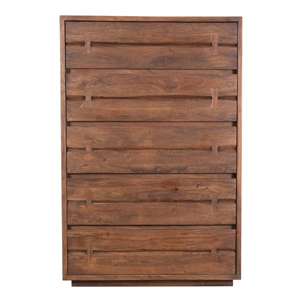 Moes Home Madagascar Brown Wood 5 Drawers Chest MOE-VE-1045-03