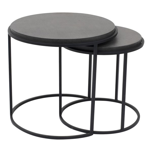 Moes Home Roost Modern Black 2pc Round Nesting Table MOE-VH-1008-02