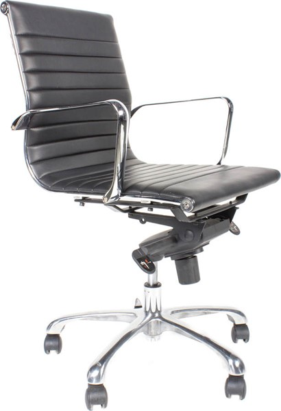 2 Moes Home Omega Black Low Back Office Chairs MOE-ZM-1002-02